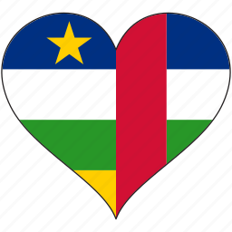 africa, central african republic, flag, flags, heart icon
