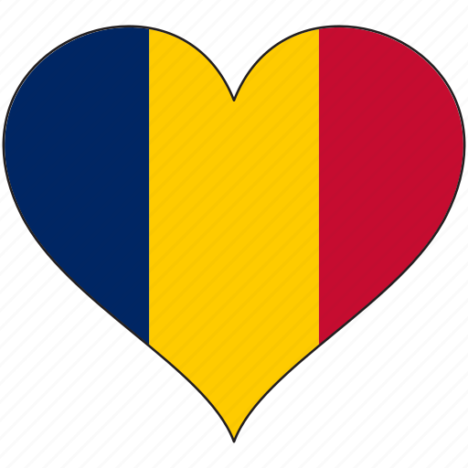 africa, chad, flag, flags, heart icon
