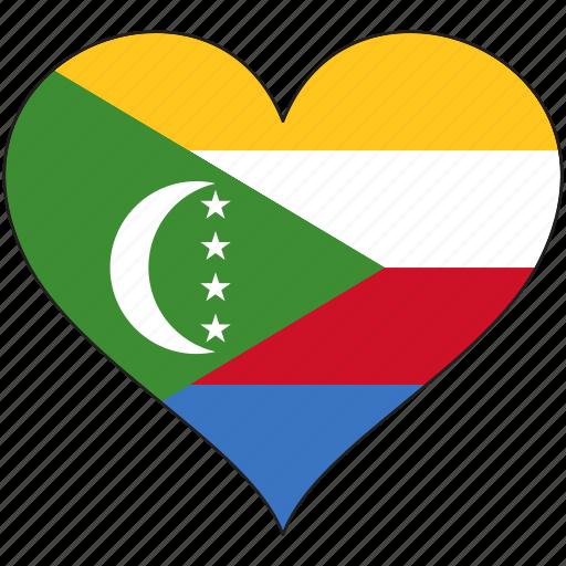 africa, comoros, flag, flags, heart icon