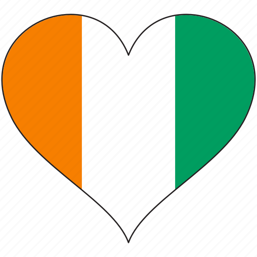 africa, cote, divoire, flag, flags, heart icon