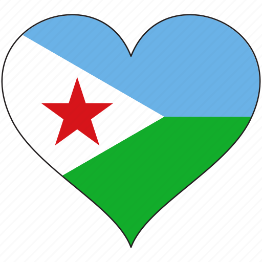 africa, djibouti, flag, flags, heart icon