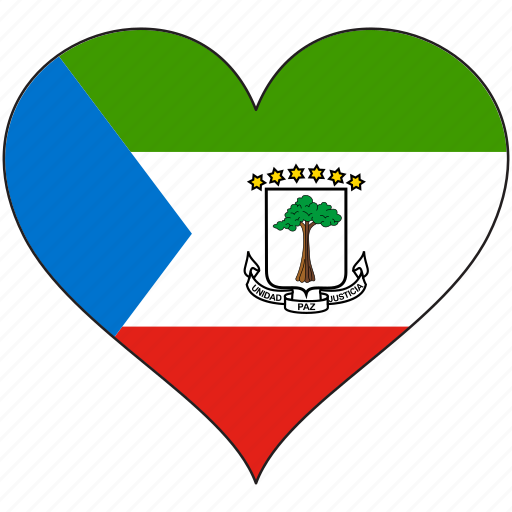 africa, equatorial guinea, flag, flags, heart icon