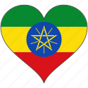 africa, ethiopia, flag, flags, heart icon