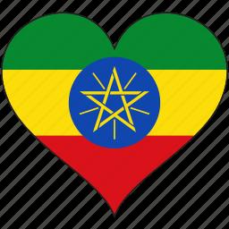 africa, ethiopia, flag, flags, heart icon