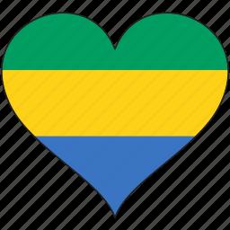africa, flag, flags, gabon, heart icon