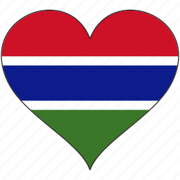 africa, flag, flags, gambia, heart icon