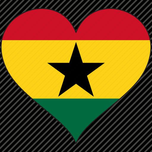 africa, flag, flags, ghana, heart icon