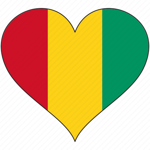 africa, flag, flags, guinea, heart icon