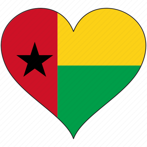 africa, flag, flags, guinea-bissau, heart icon