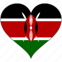africa, flag, flags, heart, kenya icon