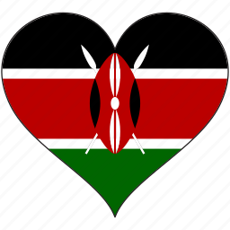 africa, flag, flags, heart, kenya icon