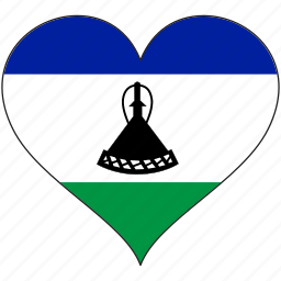 africa, flag, flags, heart, lesotho icon