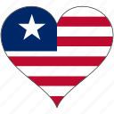 africa, flag, flags, heart, liberia icon