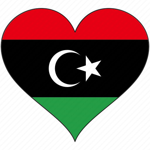 africa, flag, flags, heart, libya icon