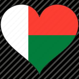 africa, flag, flags, heart, madagascar icon