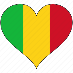 africa, flag, flags, heart, mali icon