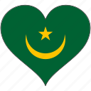 africa, flags, heart, mauritania, flag