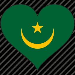 africa, flag, flags, heart, mauritania icon