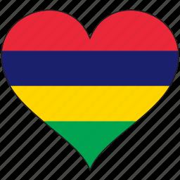 africa, flag, flags, heart, mauritius icon