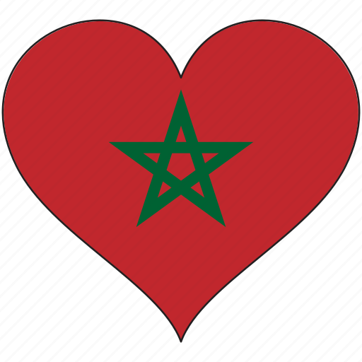 africa, flag, flags, heart, morocco icon