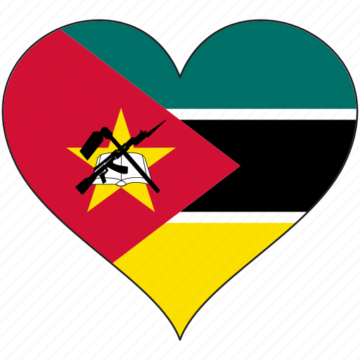 africa, flag, flags, heart, mozambique icon