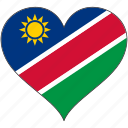 africa, flags, heart, namibia, flag