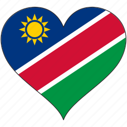 africa, flag, flags, heart, namibia icon
