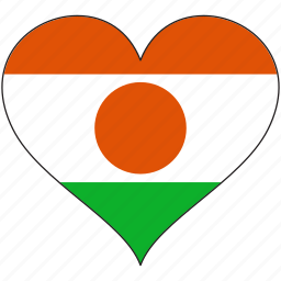 africa, flag, flags, heart, niger icon