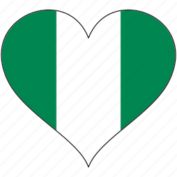 africa, flag, flags, heart, nigeria icon