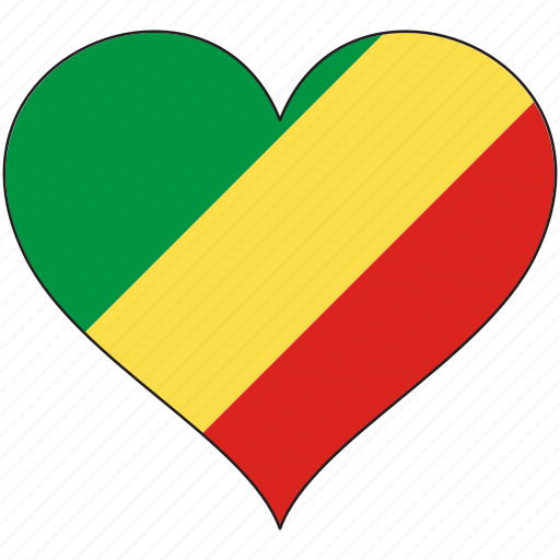 africa, flag, flags, heart, republic of the congo icon