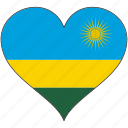 africa, flag, flags, heart, rwanda icon