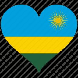 africa, flag, flags, heart, rwanda icon
