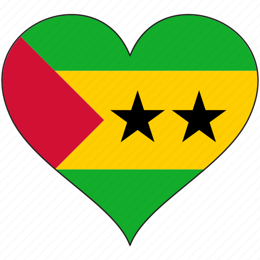 africa, flag, flags, heart, sao tome and principe icon