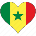 africa, flag, flags, heart, senegal icon