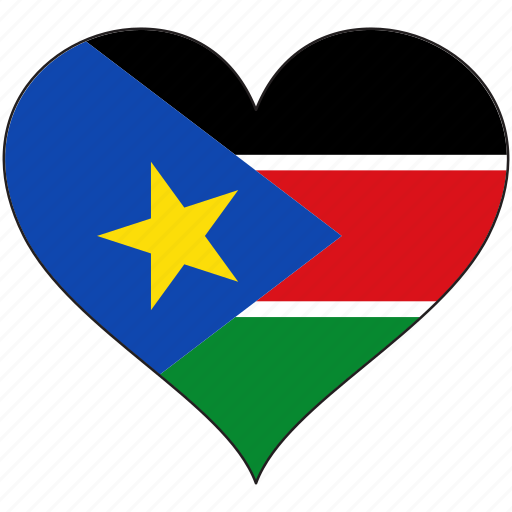 africa, flag, flags, heart, south sudan icon