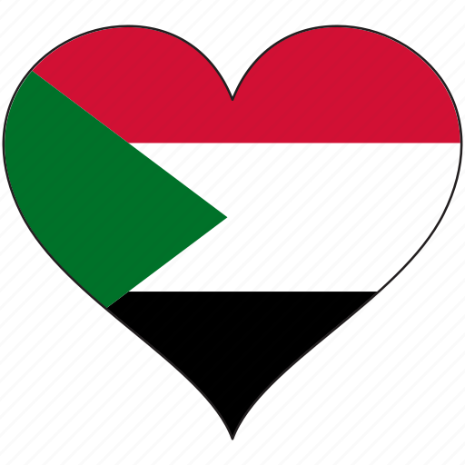africa, flag, flags, heart, sudan icon