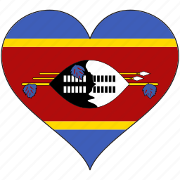 africa, flag, flags, heart, swaziland icon
