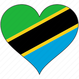 africa, flag, flags, heart, tanzania icon