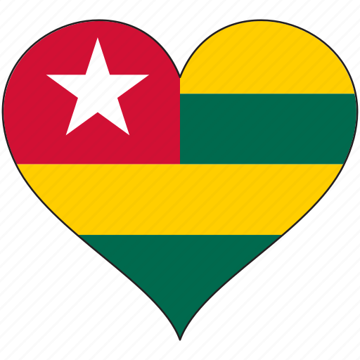 africa, flag, flags, heart, togo icon