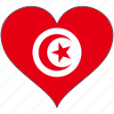 africa, flag, flags, heart, tunisia icon