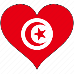 africa, flag, flags, heart, tunisia icon