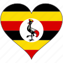 africa, flag, flags, heart, uganda icon