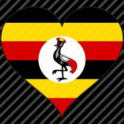 africa, flag, flags, heart, uganda icon