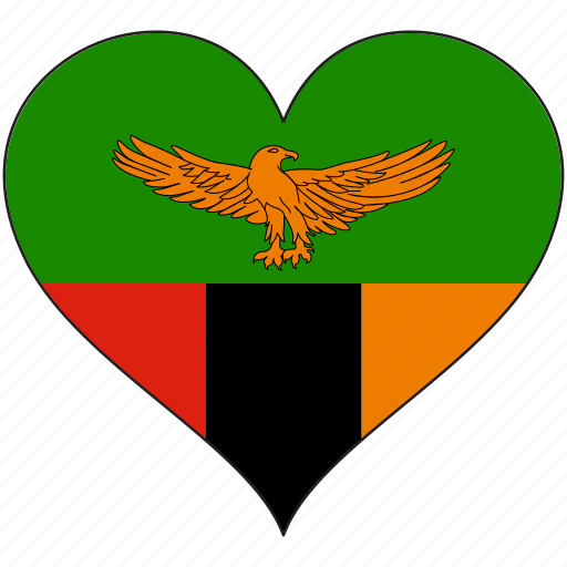 africa, flag, flags, heart, zambia icon