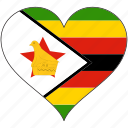 africa, flag, flags, heart, zimbabwe icon