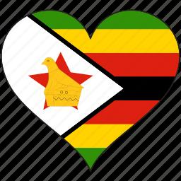 africa, flag, flags, heart, zimbabwe icon