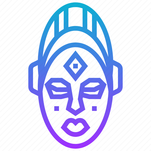african, face, mask icon
