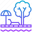 city, pool, sun, tree icon