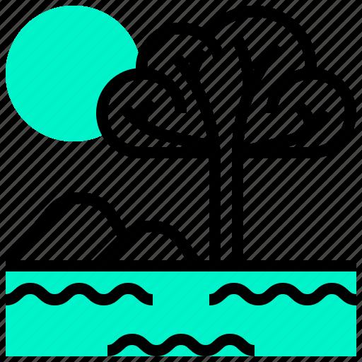 lake, landmark, savannah, tree icon