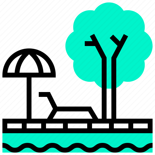 city, pool, sun, tree icon